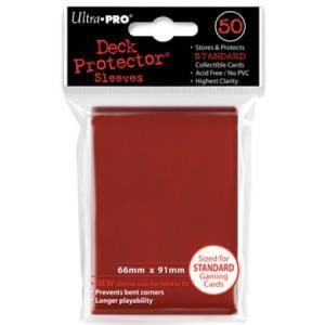 50 Deck Protector Solid Red Standard